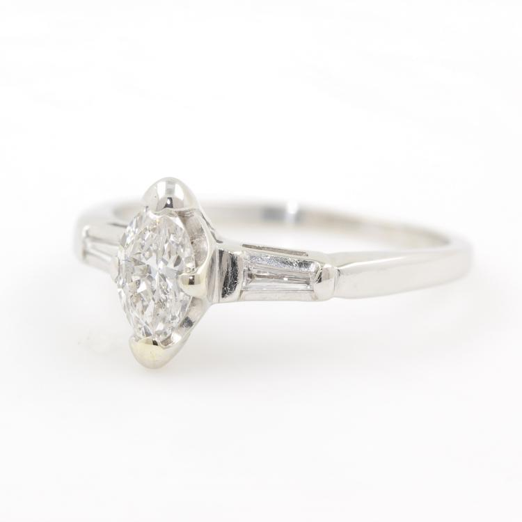 Elegant Modern 14K White Gold Diamond Ladies Engagement Ring - 0.45CTW