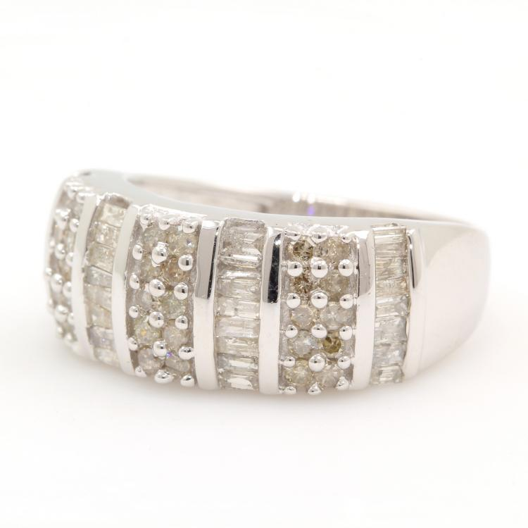 Stylish Modern 10K White Gold Diamond Ladies Anniversary Ring Band - 1.00CTW