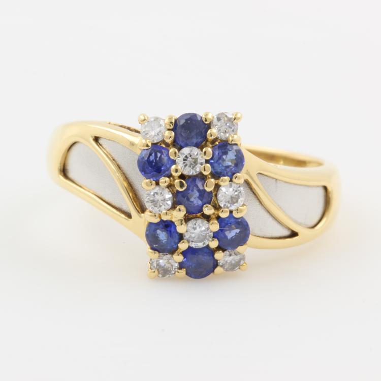 Charming Modern 18K Yellow Gold Spinel Diamond Ladies Cocktail Ring