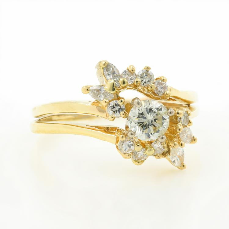 Vintage Estate Ladies 14k Yellow Gold Diamond Wedding Ring Set Jewelry - 0.85CTW