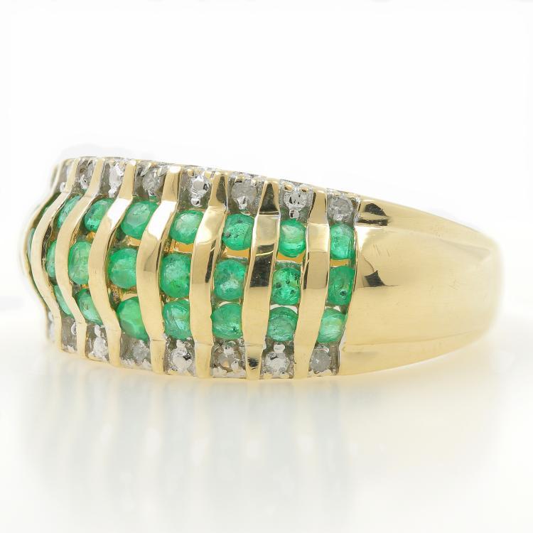 Estate Ladies 14K Yellow Gold Emerald Diamond Anniversary Ring Band - 0.65CTW