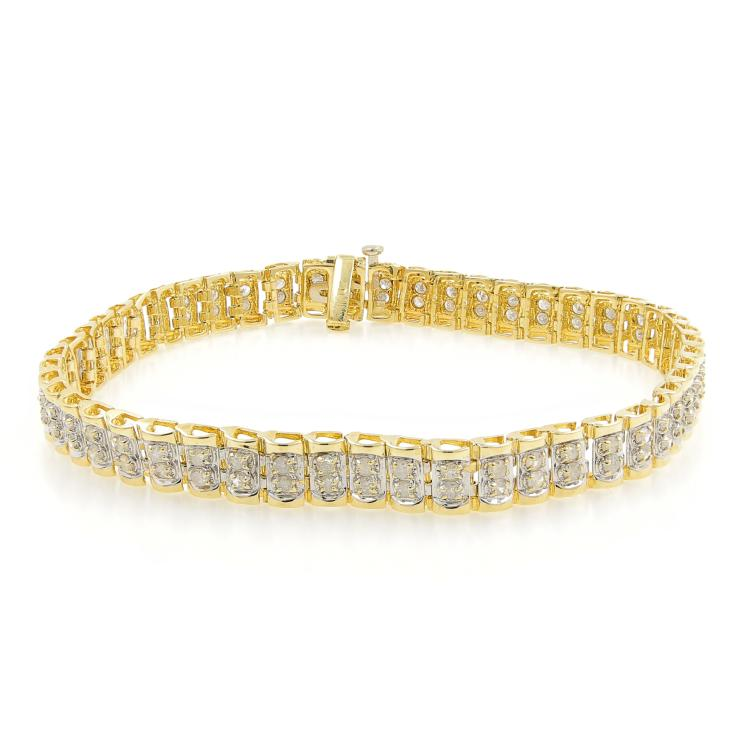 Estate Ladies 10K Yellow Gold Round Cut Diamond 7 1/2
