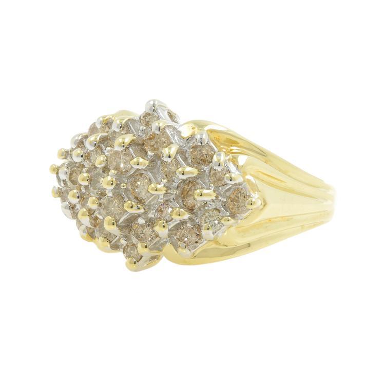 Vintage Estate Ladies 14K Yellow Gold Diamond Cluster Cocktail Ring 1.30CTW