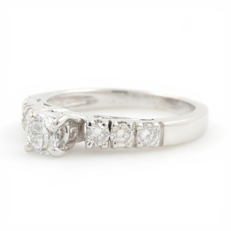 NEW Ladies Platinum Diamond Solitaire Side Accent Engagement Ring - 0.65CTW