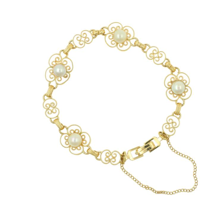 Vintage Estate Ladies 14K Yellow Gold Pearl Ornate Accent Bracelet - 7 Inch