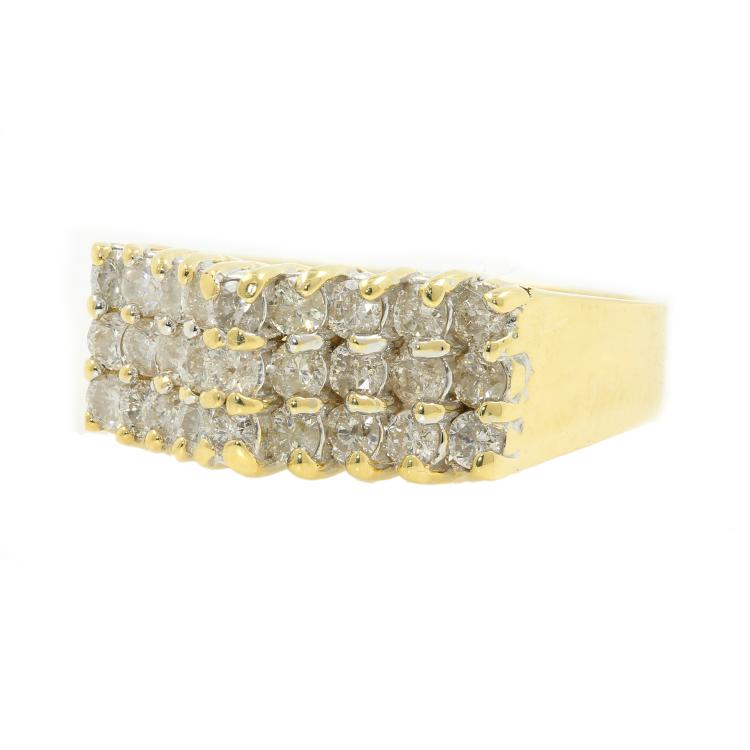 Estate Vintage 14K Yellow Gold Charming Diamond Pyramid Ladies Ring - 0.81CTW