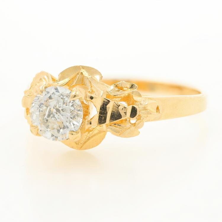 Vintage Estate Ladies 18K Yellow Gold European Cut Diamond Engagement Ring