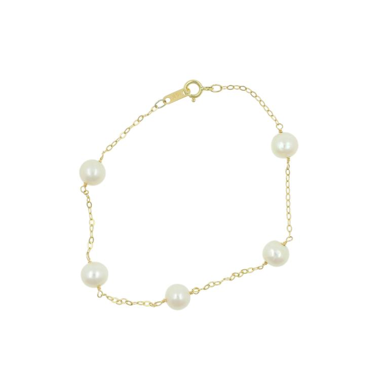 Elegant Classic Estate Ladies 14K Yellow Gold Pearl Accent Bracelet 7 1/2 Inch