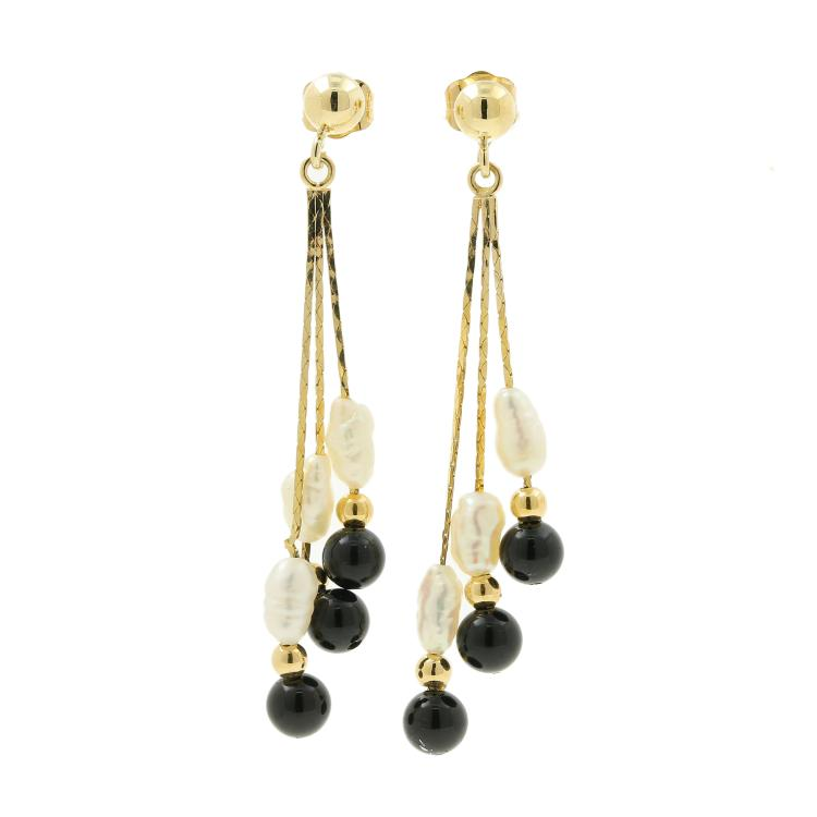 Charming Vintage Estate Ladies 14K Yellow Gold Rice Pearl Onyx Drop Push Back Earrings