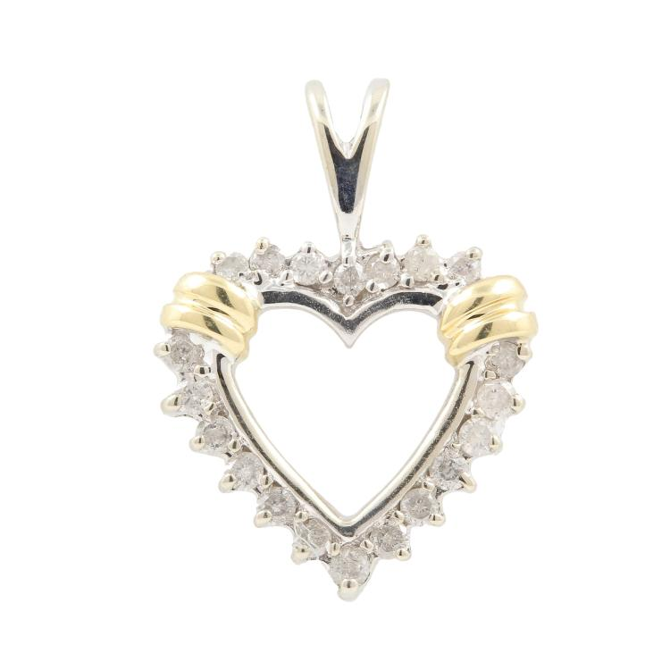 Vintage Estate Ladies 10K White Yellow Gold Diamond Heart Pendant - 20MM
