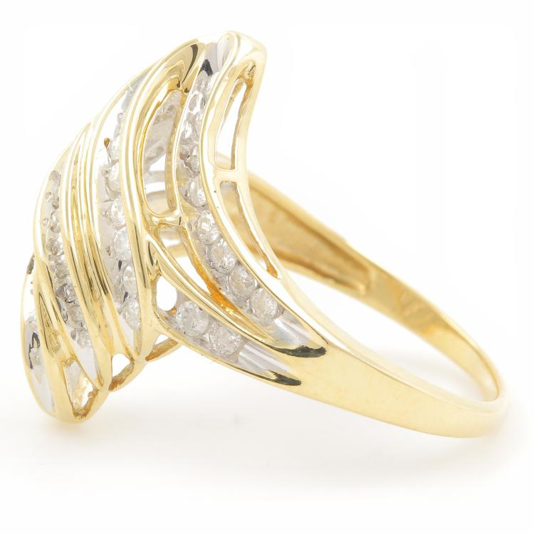 Classic Estate Ladies 10K Yellow Gold Diamond Bypass Cocktail Ring - 1.25CTW