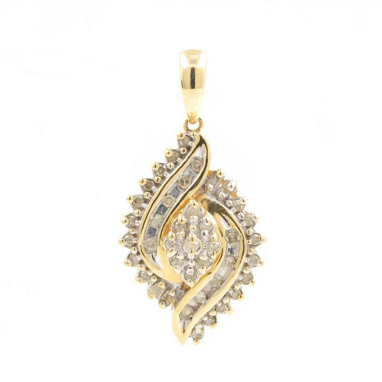 Classic Ladies 10K Yellow Gold Diamond 0.33CTW Bypass Cluster Pendant