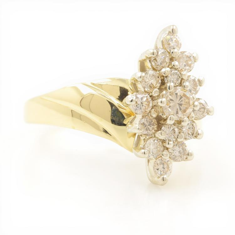 Vintage Estate Womens 14K Yellow Gold Diamond Cluster Cocktail Ring 0.85CTW