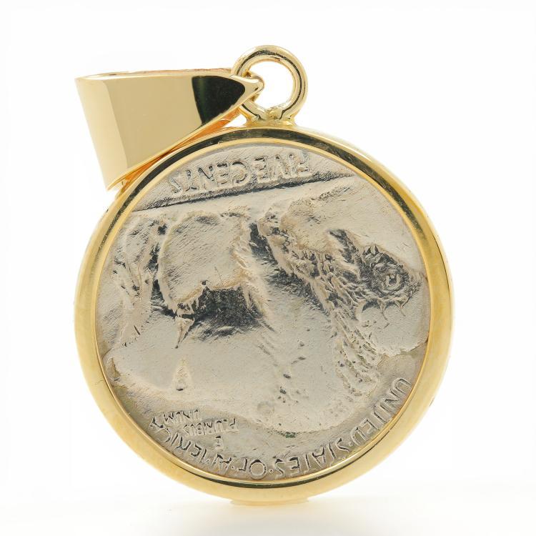 Rare Vintage Estate 10K Yellow Gold Bezel Pendant 1915 Buffalo Nickel Coin