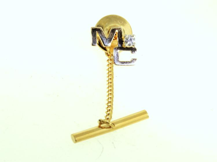 Monogram 14K Yellow Gold Diamond 0.10CTW Tie Tack With Chain