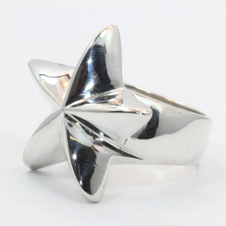 Modern Estate 925 Sterling Silver Solid Star Ring Design Size 8.5
