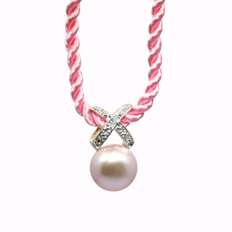 Estate 14k Yellow Gold Pink Pearl and Diamond Pendant in 15