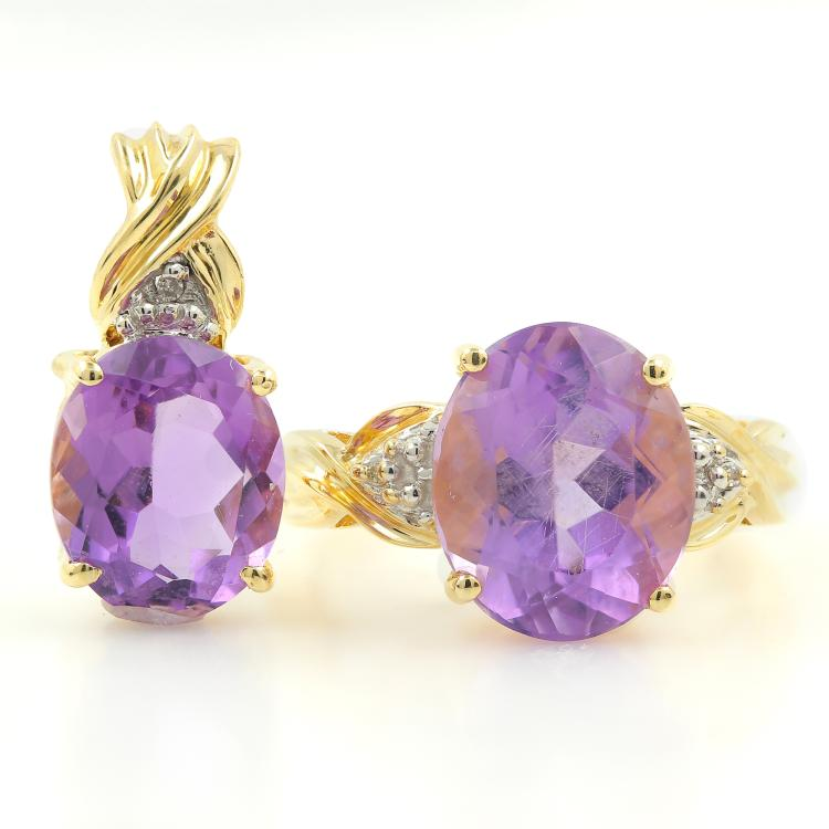 Vintage Estate 10K Yellow Gold Diamond Amethyst 2PC Ladies Ring Earrings Set