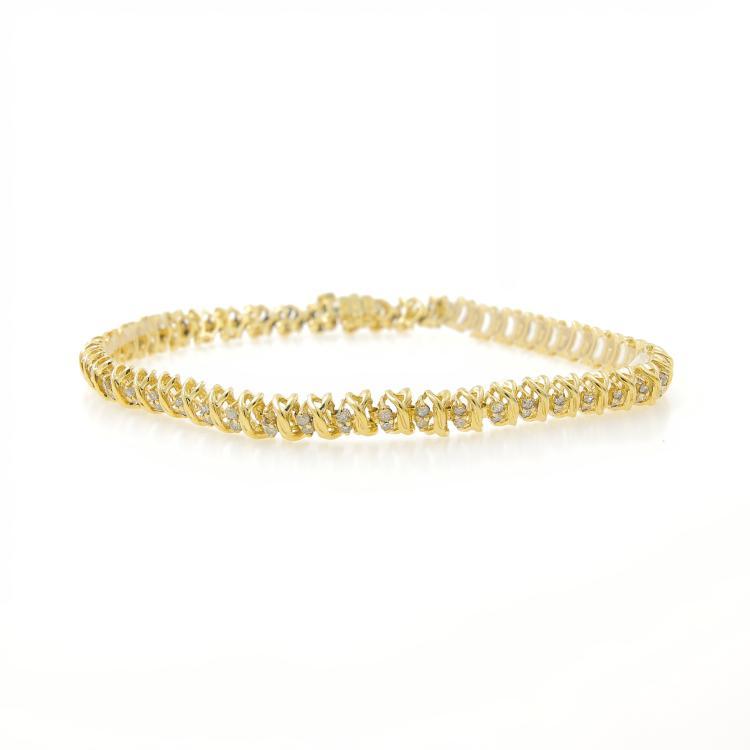 Gorgeous Classic Estate 10K Yellow Gold Diamond Ladies Tennis Bracelet 1.00CTW