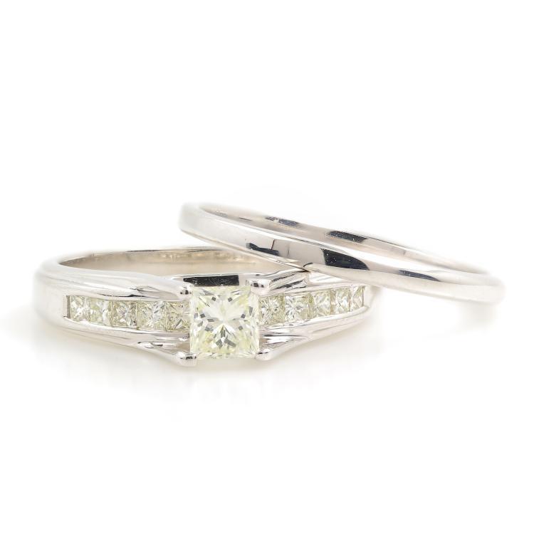 Elegant Modern 14K White Gold Princess Cut Diamond Wedding Ring Duo Set