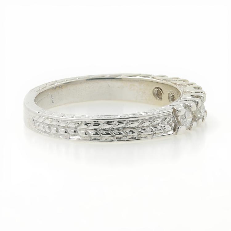 Beautiful Vintage Estate Ladies 14K White Gold Diamond Ornate Ring Band 0.25CTW