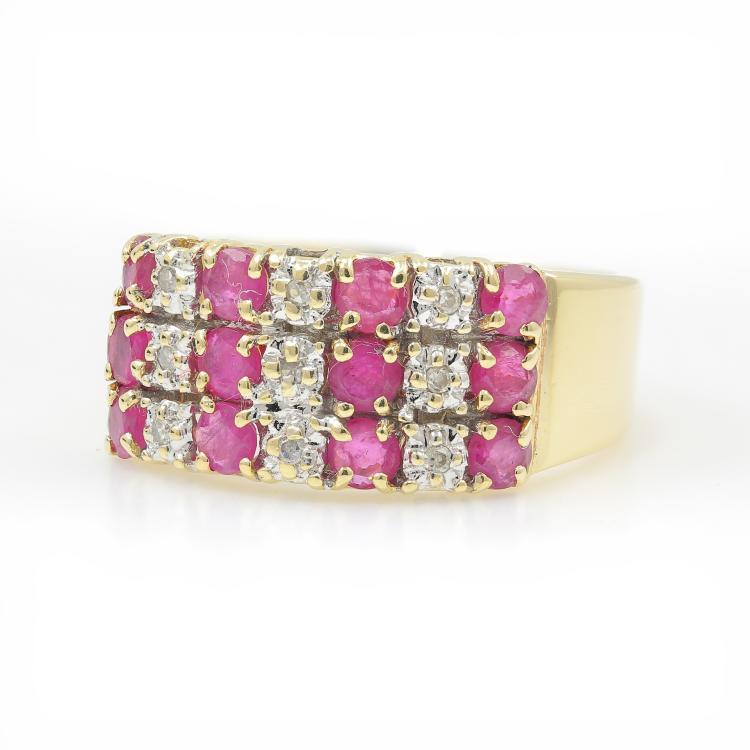 Vintage Estate 10K Yellow Gold Spinel Diamond 1.02CTW Beautiful Ladies Ring Band