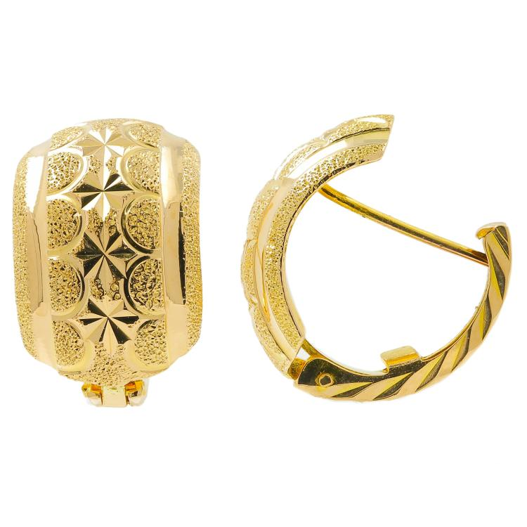 Classic Estate Ladies 18K Yellow Gold Huggie Hoop Earrings
