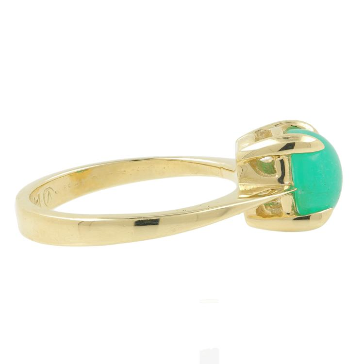 Vintage Classic Estate 14K Yellow Gold Emerald Cabochon Ring - 1.30CTW
