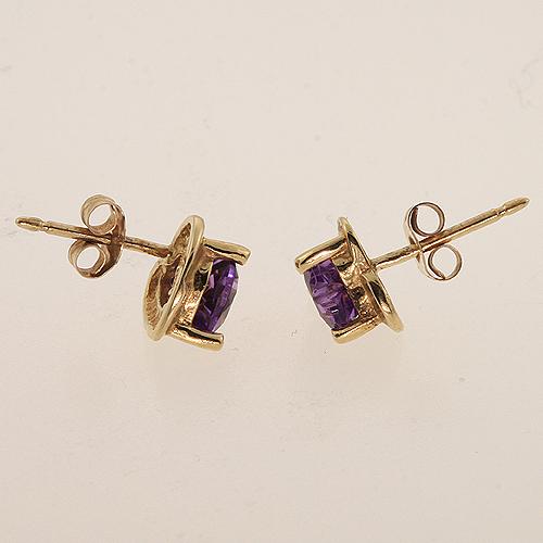 Modern 10K Yellow Gold Heart Shape Amethyst Stud Earrings Jewelry