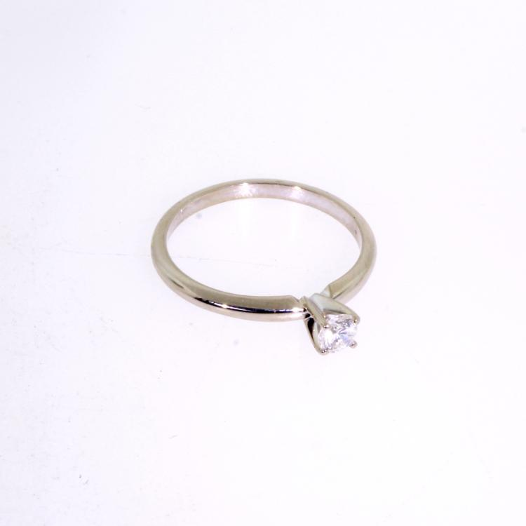 Vintage Estate 14K White Gold Diamond Solitaire Engagement Ring - 1/5CTW