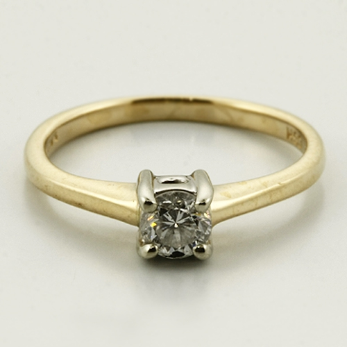 Vintage Estate Classic 14K White&Yellow Gold Sparkling Diamond Engagement Ring