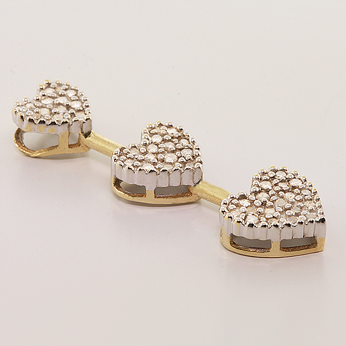 Vintage Estate 10K Yellow Gold Lovely Diamond - 0.40CTW - Heart Dangling Pendant