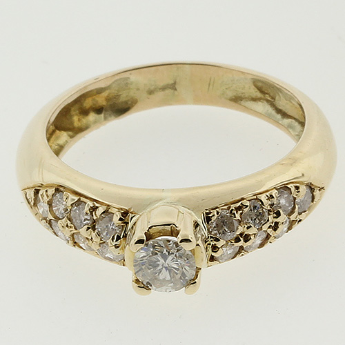 Exquisite Ladies 14K Yellow Gold Round Brilliant Diamond Ring - 0.35 CTW