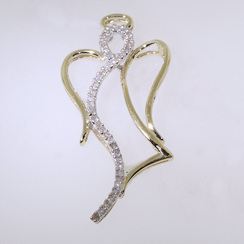 Unique 10K Yellow Gold Diamond - 0.40CTW - Faith Angelic Guardian Angel Pendant
