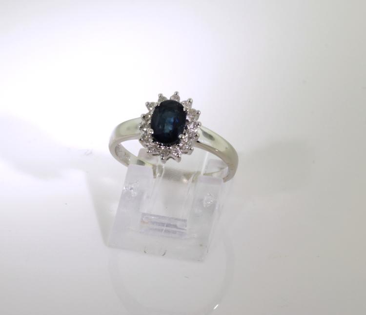 Fancy Modern 18K White Gold Diamond & Blue Spinel Ladies Ring - 1.30CTW