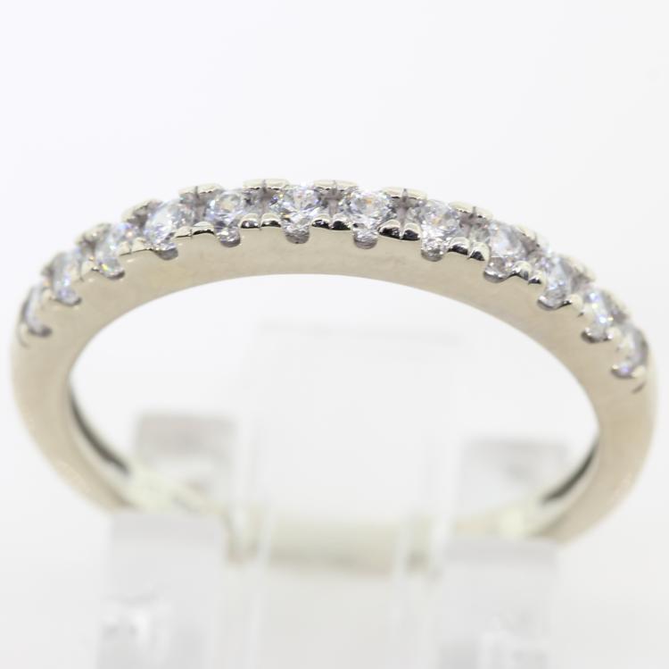 Classic Ladies 14K White Gold Stylish Zirconias Band Ring