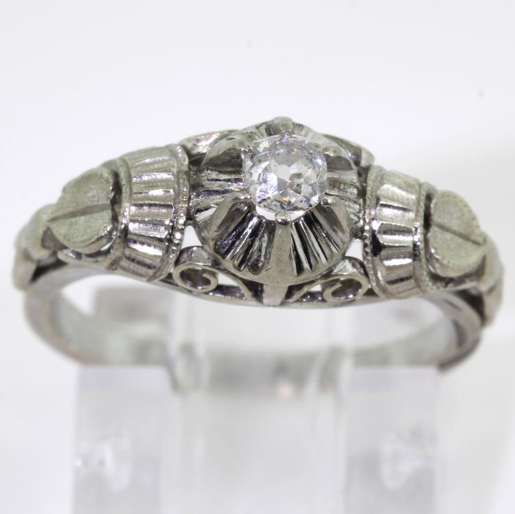 Vintage Estate 10K White Gold Old Mine Cut Natural Diamond Engagement Ring