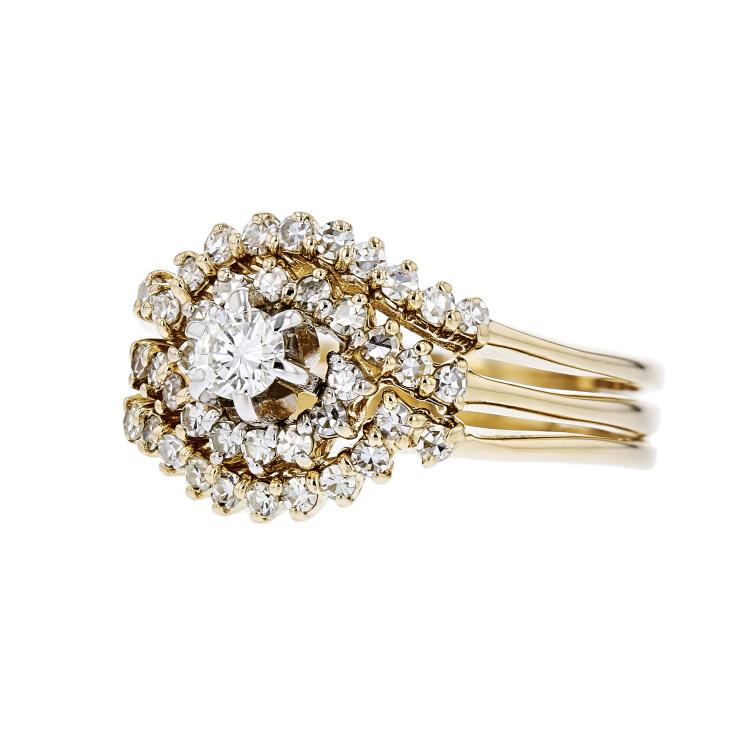 Charming Modern 14K Yellow Gold Sparkling Diamond Ladies Swirl Ring - Brand New