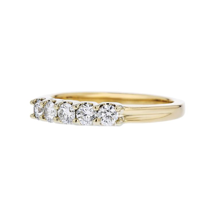 Elegant Modern Ladies 14K Yellow Gold Diamond Ladies Ring Band - New