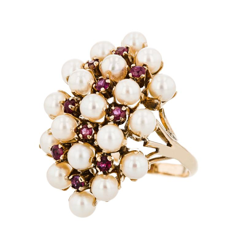 Stylish Modern 14K Yellow Gold Ruby & Pearl Ladies Statement Ring - Brand New