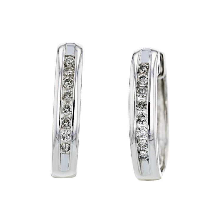Stylish Modern Ladies 14K White Gold Diamond Huggie Hoops Earrings - Brand New