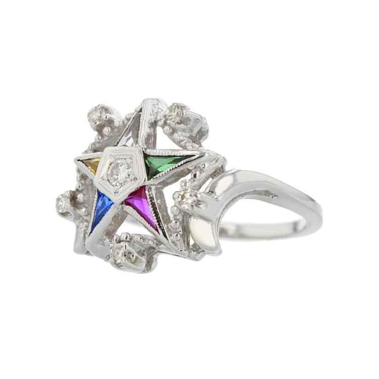 Modern 14K White Gold Diamond & Color Stones Star-Shaped Ladies Statement Ring
