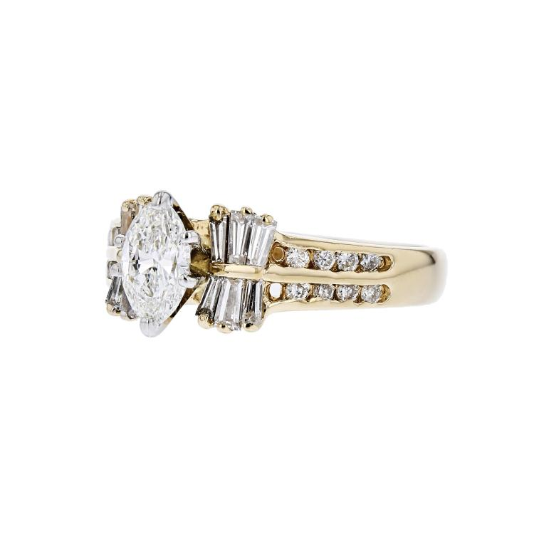 Gorgeous Modern Ladies 14K Yellow Gold Marquise/Baguette/Round Diamond Ring New