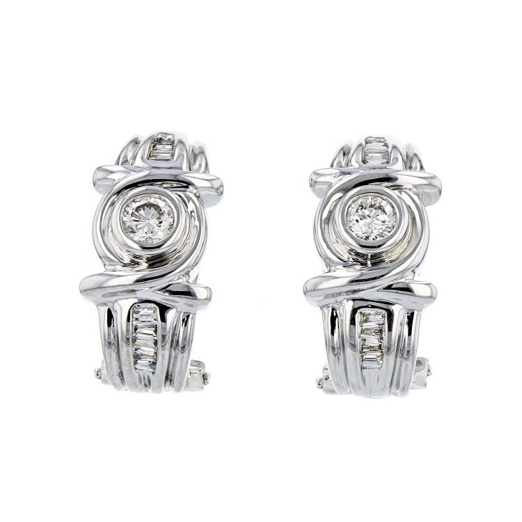 Stylish Modern Ladies 14K White Gold Diamond Earrings - Brand New