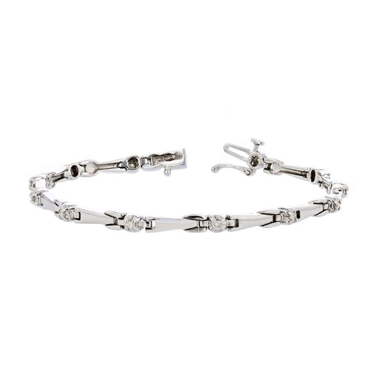 Stylish Modern 14K White Gold Ladies Diamond Bracelet - Brand New
