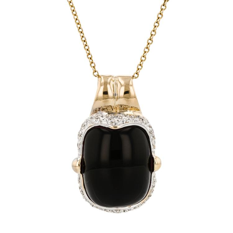 Modern Ladies 14K Yellow Gold Black Onyx & Diamond Necklace & Pendant Set - New
