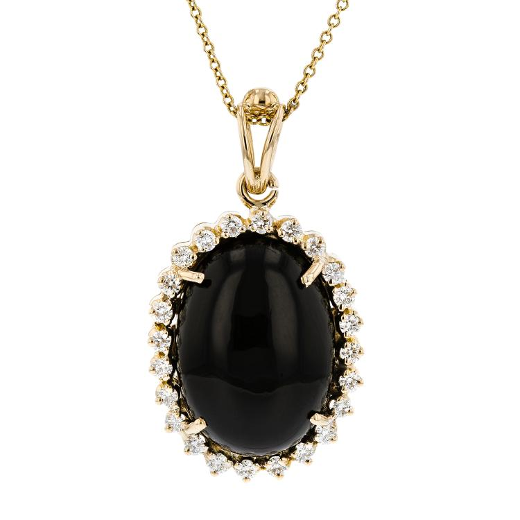 Modern Ladies 14K Yellow Gold Black Onyx & Diamond Halo Pendant & Necklace Set