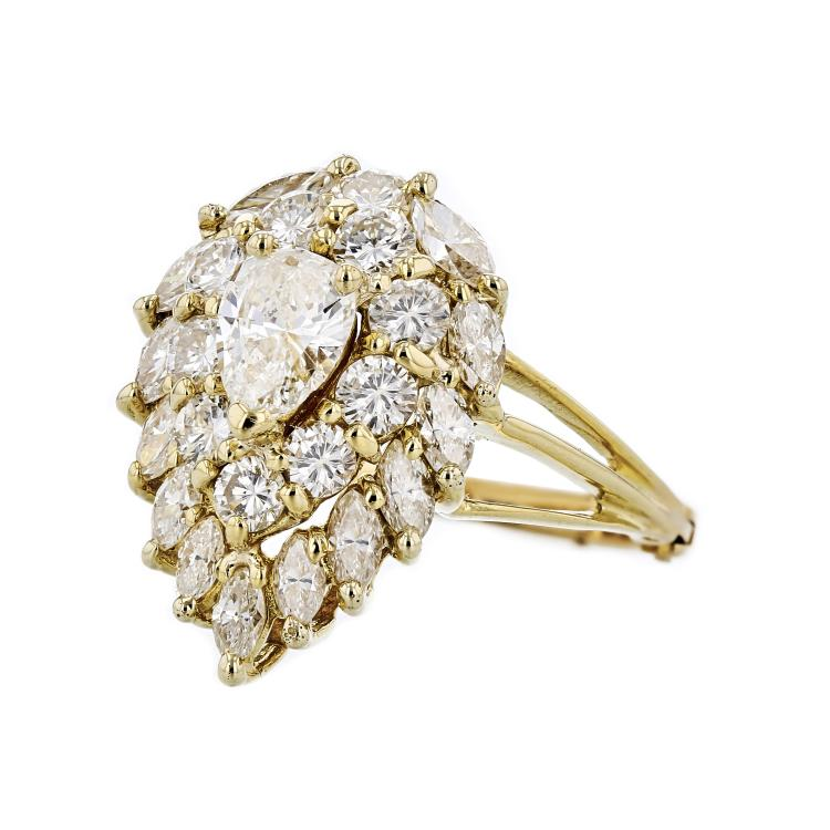 Gorgeous Modern 18K Yellow Gold Diamond Ladies Statement Ring - 3.15CTW - New