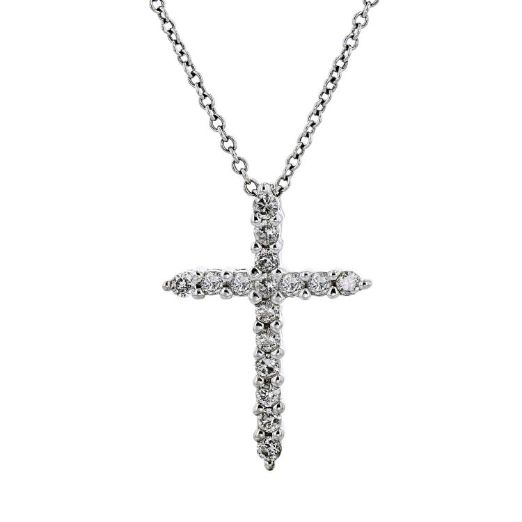Exquisite Modern 10K White Gold Diamond Necklace & Cross Pendant Set - Brand New