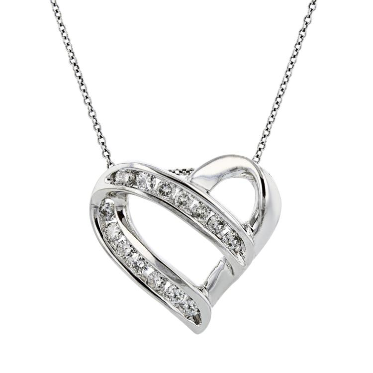 Modern Ladies 10K White Gold Diamond Necklace & Heart-Shaped Pendant Set - New